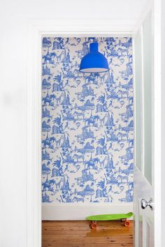 blue hallway | home of Nicola & Orlando Reindorf via the design files