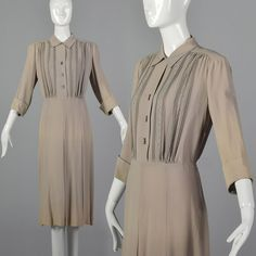XL 1940s Tan Rayon Dress Classic Style Casual Day Wear Embroidery Detail 40s VTG | Clothing, Shoes & Accessories, Vintage, Women's Vintage Clothing | eBay!