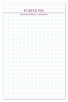pi beta phi personalized graph paper notepad piphi pibetaphi greek pbp