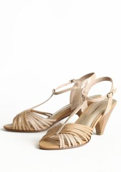 """Crossroads T-strap Heels 32.99 at shopruche.com. Timeless and sophisticated, these taupe kitten heels feature patent leatherette details contrasted with matte. Completed with a peep toe, faux stacked heel, and adjustable ankle strap.  3"""" heel, Slightly padded footbed"""