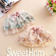 18M,24M,2Y,3Y,4Y mini skirt girl dress girl clothes spring fall summe dress blue pink flower dress. $23.99, via Etsy.