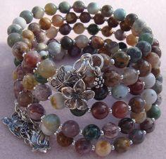 Multi strand Bracelet, Gemstone Bracelet, Memory Wire Bracelet, Wrap Bracelet, Coiled Bracelet, Jasper Sterling Silver Charm Bracelet on Etsy, $150.00