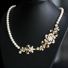 Gold Pearl Necklace, Wedding Jewelry,Vintage Flowers and Leaves, Rhinestone Bridal Necklace, SABINE GARDEN. $89.00, via Etsy.