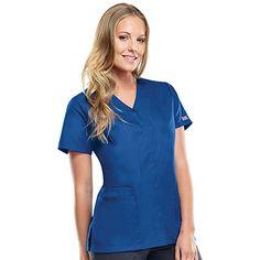 0a8f5775189 Cherokee Workwear Women's Snap Front 2-Pocket Solid Scrub Top Cherokee  Uniforms, Cherokee Scrubs