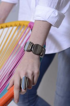 Wooden jewelry - bracelet and ring. Colourful stripes - brown, blue, white and black