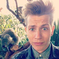 James and A Koala. The Vamps. Love those eyes. James 3, Bradley Simpson, New Hope Club, British Boys, The Vamps, My Sunshine, Boy Bands, Make Me Smile, Fangirl