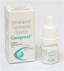 Careprost Bimatoprost Ophthalmic Solution  is proven effective in people with weak growth of eye lashes, to achieve fuller, longer and thicker eyelashes.  Careprost Active Ingredients: Bimatoprost Ophthalmic Solution 0.03% w/w Bimatoprost Ophthalmic also increases amount of fluid in the eye and is actually officially used to treat glaucoma. For a glaucoma treatment, the medication needs to be dropped onto the eye, as opposed to the eye lid only when used for eyelash treatment.