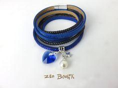 Bracelet Multi-Rangs, Manchette Cadeau Valentin, Coeur Cristal Bleu, Fermoir Aimanté, Bijoux Zen Boutik : Bracelet par zenboutik
