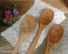 Wood burned artful spoons by CanterLily. https://www.etsy.com/shop/CanterLily/about/
