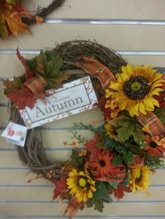 Welcome fall floral wreath from Stauffers Home & Garden Store.