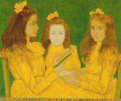"""Jan Toorop, """"Marie, Lies and Nellie Volker van Waverveen"""", 1901 by whh, via Flickr"""