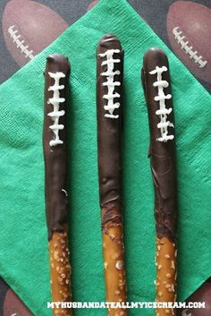 We love these Chocolate Dipped Football Pretzels from blogger My Husband Ate All the Ice Cream! http://www.myhusbandateallmyicecream.com/2013/12/football-pretzels/
