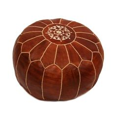 Embroidered Leather Pouf in Chestnut