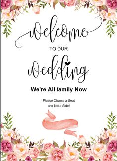 Printable Wedding Welcome Sign Print Size Personalisation Option Available Vintage Invitations, Wedding Invitation Cards, Wedding Cards, Wedding Events, Weddings, Invites, Wedding Table Flowers, Wedding Centerpieces, Wedding Colors