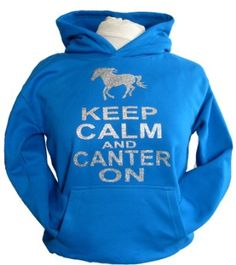 KEEP CALM AND CANTER ON WITH HORSE IMAGE' with sparkling glitter print Hoodie in 5 different Colours: Amazon.co.uk: Clothing