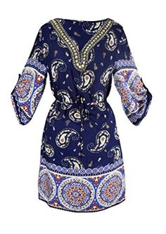 Peach Couture Womens Beaded Gem V Neck 34 Sleeve Paisley Border Top Tunic Dress Red Small -- Continue to the product at the image link.