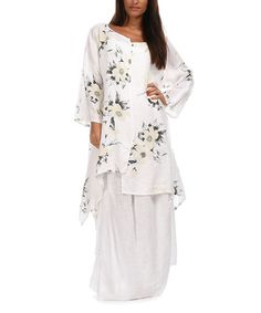 Look at this #zulilyfind! White Floral Alicia Linen Tunic - Women by 100% LIN BLANC #zulilyfinds