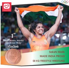 """A warm Heartedly Congratulations to Our lady Sultan """"Sakshi Malik"""". She won the Bronze medal in Freestyle Wrestling. Seema is the 1st Indian Women Wrestler to win a Medal in Olympics. Congratulations!! #indiajeetrio #proudmoment #indiawins #sakshimalik #victory #rio2016 #rioolympics2016 #love #teamindia #valentine #valentineclothes #madewithlove www.valentineclothes.com"""