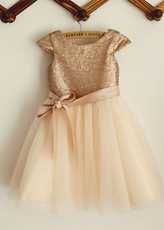 A-line Cap Sleeves With Sash Wedding Party Easter Everyday Wear General Plus Spring Summer Fall Winter Champagne Sequin Tulle Flower Girl Dress