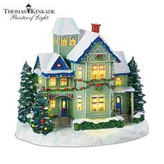 Thomas Kinkade Candle Glow House Sculpture Brings the Village Christmas Spirit to Your Home Decor and Holidays! Christmas Village Collections, Christmas Village Display, Christmas Village Houses, Christmas Town, Christmas Candle, Old Fashioned Christmas, Christmas Villages, All Things Christmas, Christmas Decorations