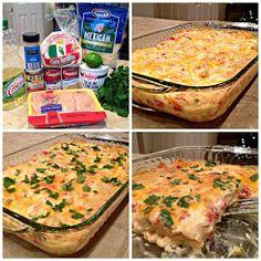 Chicken Enchilada Bake~~ http://www.sweetlittlebluebird.com/2014/01/chicken-enchilada-bake.html