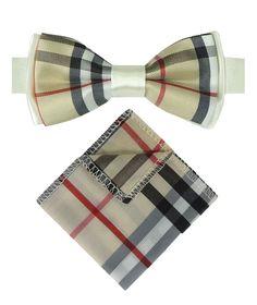60ecf93bad Boys Premium Burberry Style Check Beige Bow Tie