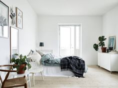 Loving the space medicine in this bedroom. Lots of natural light, texture, greenery and blue tones!