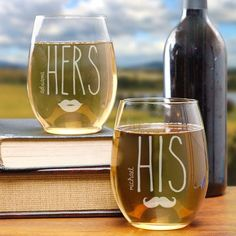Engraved Couples Stemless Wine Glass Set - Just Becuzz Inc.