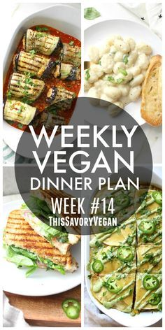 Weekly Vegan Dinner Plan #14 - five nights worth of vegan dinners to help inspire your menu. Choose one recipe to add to your rotation or make them all - shopping list included.