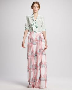 Extra-Long Wide-Leg Floral Pants by Alice + Olivia at Bergdorf Goodman.