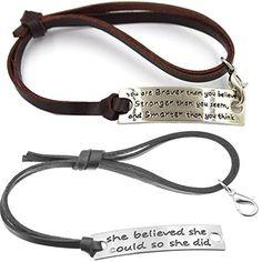 Set of 2 Inspirational Charm Bracelet Fitness Motivation Jewelry for Women Mens Adjustable Black&Brown #fitnessinspiration