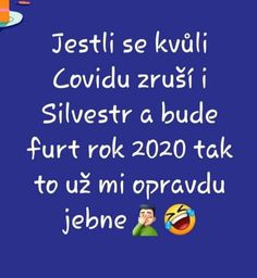 Jestli se kvůli Covidu zruší i Silvestr a bude furt rok 2020, tak to už mi opravdu jebne! Funny Pick, Carpe Diem, Haha, Jokes, Creative, Husky Jokes, Animal Jokes, Funny Jokes, Humor