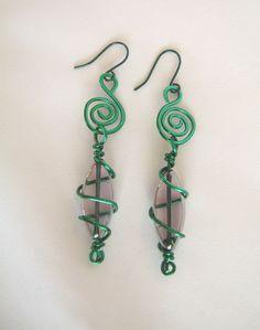 Green Wire Wrapped Long Dangle Earrings. $18.00, via Etsy.