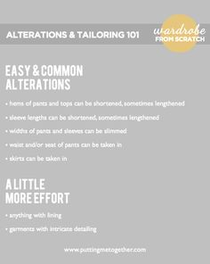 Putting Me Together: Wardrobe From Scratch, Part 3b: Alterations and Tailoring 101