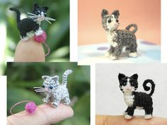 Micro-crocheted cats