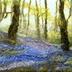 'Bluebells, Haughmond Woods II' Handmade Felt Painting : SOLD