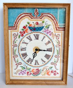 Vtg Embroidered Electric Clock Works! Wall or Mantle Wood Box Cross Stitch Hand