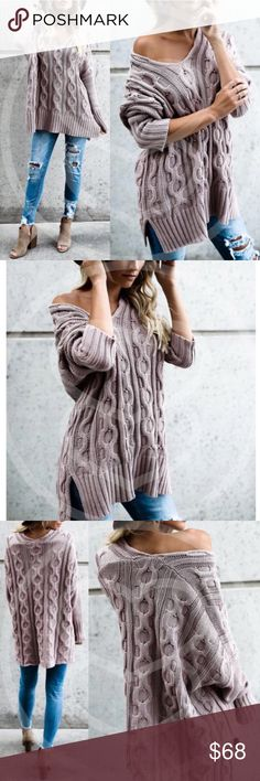 Cozy Soft Mauve Sweater 100% Cotton • Oversized fit   Price is firm • Reposh from the lovely @bellanblue Boutique Sweaters V-Necks