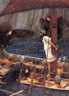 Ulysses and the Sirens, JW Waterhouse. It is important to note that the sirens were traditionally depicted as crow-women, noting their connection to the Morrigan and making a link from Morrigan myth to mermaids.