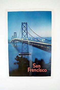 Vintage Original 1960's San Francisco Bay Bridge Large Poster