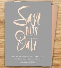 Calligraphy Save The Date, Blush, Gray, Rose Gold, Elegant, Modern Wedding, DIGITAL, Save The Date, Simple, Elegant, Wedding, Choose Colors