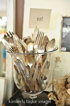 silverware display in jar Vintage Silver, Antique Silver, Zinn, Shabby, Time To Celebrate, French Country Decorating, A Table, Tablescapes, I Shop