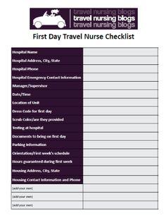 first day travel RN checklist