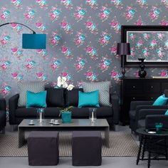 Sophisticated teal living room with all black furniture!