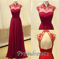 #promdress01 prom dresses - cute wine red lace chiffon open back long prom dress,ball gown,bridesmaid dress #coniefox #2016prom