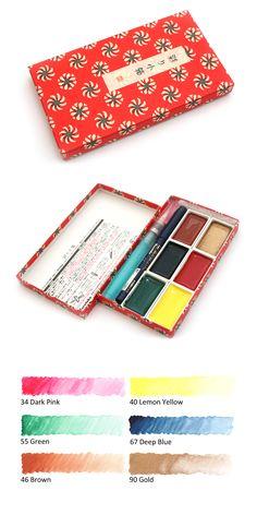 JAS Chinese Brush Gift Set 3 Goat Hair Brushes Fabric Box