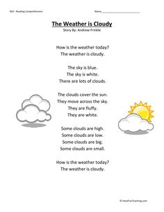 This Reading Comprehension Worksheet - Weather is Cloudy is for teaching reading comprehension. Use this reading comprehension worksheet to teach reading comprehension. Weather Worksheets, Map Worksheets, Social Studies Worksheets, Free Kindergarten Worksheets, School Worksheets, Kindergarten Reading, Printable Worksheets, Teaching Reading, Weather Activities