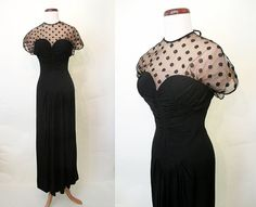 Stunning 1940's Designer Black Crepe Gown w/ Polka by wearitagain