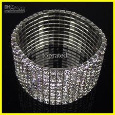 Wholesale Bridal Jewelry - Buy Free Shipping !In Stock Cheap10 Row Rhinestone Stretch Bangle Bracelet Wedding Party Bridal Jewelry, $9.6   DHgate