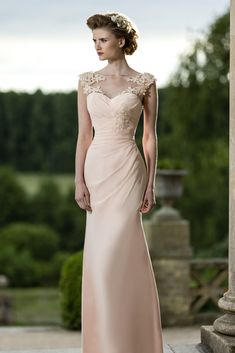 beautiful chiffon bridesmaid dress, love the sheer illusion neckline! M587 by True Bride 2015 collection #bridesmaiddress